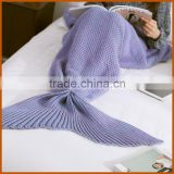 China Softtextile Knitted Fleece Mermaid Tail Blanket                                                                                         Most Popular
