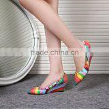 2016 Hot design ladies wedge shoes rainbow color high heels pointed toe