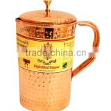 IndianArtVilla Pure Copper Hammered Jug Pitcher with Lid 1300 ML - Storage Drinking Water Home Hotel Restaurant Good Health