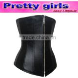 sexy underbust leather front zipper corset tops m1990
