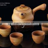 Handmade Crude Ceramic Tea Set Including One Long Handle Tea Pot& 6 Brown Tea Cups In Package Gift Box