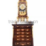 Home Decortive Brass Inlaid Clock With Wooden Chest of Drawers, Antique Table clock With Cabinet, Gold & Red Antique Floor Clock