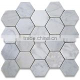 hexagon 2x2 white marble tumble mosaics meshed on sheet tiles for kitchen backsplash shower walls bathroom floor