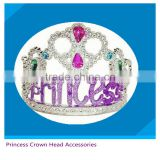 new designed toy from icti factory hair accessory for party cute girls hair tiaras crown toy with blue dismonds