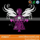 Hot wholesale iron on transfer design glitter angel custom rhinestone apparel