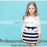 2016 new arrival baby girls mini skirt kids black and white stripe skirt school girl short skirt