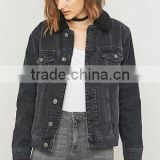 2017 New Design Sample wholesale China Guangzhou denim facotry winter jean women Long Sleeves Hooded Bomber jacket for ladies
