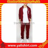New model top quality anti-pilling burgundy 100%cotton graphic drawstring hood tracksuit men