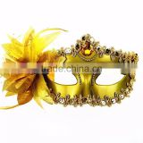 2016 Hot sale golden shiny feather halloween adult princess party face mask