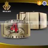 High Quality Team Four Belt Buckle in Antique Brass Plating
