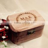 Custom burned logo hinging wood ring box,small wooden jewelry boxes                                                                         Quality Choice