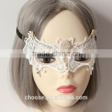 High Quality Wholesale Item White Lace Pearl Bat Design Masquerade Face Mask