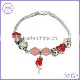 Heart love rose bead 925 sterling silver European DIY charms bracelet for Valentine's Day