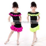 2016 latin dance dress children green and rose fashion evening dress girls performance dance costume