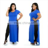 F20459A European fashion plus size maxi dresses fat women dress pictures short sleeve pure color split dress plus size clothing                                                                                                         Supplier's Choice