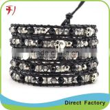 New Fashion Jewelry Various Natural Stone Mix Gold Bead On Black Leather With Stainless Steel Clasp Bead Wrap Bracelet