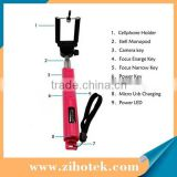 Selfie stick extendable handheld monopod,wireless bluetooth selfie shutter stick with zoom for iphone and Andriod