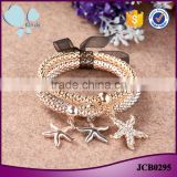 Environmental zinc alloy gold wihte gold plated 3 pieces set starfish charm bracelet                                                                                                         Supplier's Choice