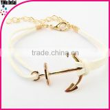 Hot saling hook bracelet with leather fashion fish hook bracelet