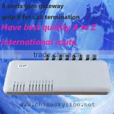8 GSM GATEWAY!voip gateway with H.323 and SIP,G711/G729/G723 voide code/bluetooth gsm gateway