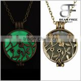 Bronze Ladies Steampunk Fairy Magical Glow in the Dark Hollow Locket Round Charm Pendant Necklace