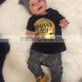 2016 hot sell children clothing MAMAS BOY SET toddler boy 2pc outfit cute t shirt harem pant
