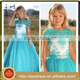 LBFG07 Aqua Blue Lace Appliqued Short Sleeve Ball Gown Flower Girl Dresses 2016 Full Length Long Tulle Kids Bridesmaid Dresses