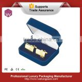 High Quality Single Leather Cufflink Box /Custom Blue PU Cufflinks Gift Boxes