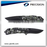 Skull Zombie Slayer Grip Handle Assisted Openning Rescue Pocket Knife With Glass Breaker
