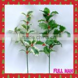 Christmas Decoration H60cm Plastic Red Berries/Silk Leaves Christmas Holly Branch
