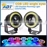 2016 Hot sale Car White Angel Eye LED COB DRL Halo Ring eagle eye projector headlight
