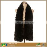 Soft Black Solid Color Warm Long Faux Fox Fur Scarf Wrap