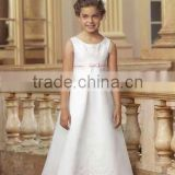 Classical scoop embroidery white satin pink sash flower girl dress A2524