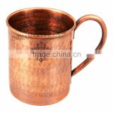 IndianArtVilla Hammered Pure Copper Sleeping Fox Design Moscow Mule Mug Cup 500 ML - Serving Beer Wine Cocktail Bar Hotel Resta