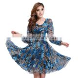 Wholesale Fashion Women Floral Print Long Sleeve Short Chiffon Dresses Flower Lady Tunic Summer Dress