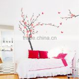 Removable Flowering Cherry and Butterflies Wall Stickers Home Decoration Giant Wall Decals 130*200cm JM7138