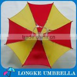 12 inch yellow and red customized hat umbrella head umbrella