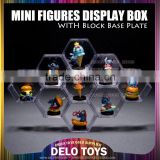 Plastic Acrylic Transparent toys building blocks mini figures diamond bricks Hexagonal display case 6 colors base plates DE00021