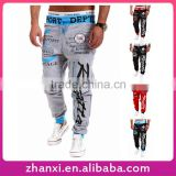 Hot selling gym soft fashion print boys casual sport long hip hop pants for men