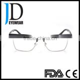 Fashion and latest design eyewear metal optical frames wholesale and promotion eyeglasses with wide temple