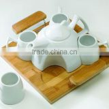 porcelain teapot with cup,teapot set with bamboo tray