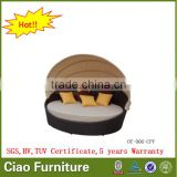 2016 modern rattan hotel furniture daybed sectional sofa bed