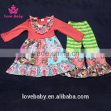 Watermelon Red Floral Shirt with Splicing Big Sleeve Ruffle Trousers Kids Fashion Clothing Set LBYTZ001-45