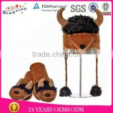 2013 New Fashion Soft Bison Animal Hat Gloves Kids Adult Knitted