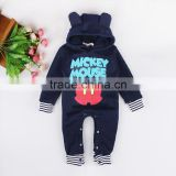 Spring autumn winter deep blue organic baby romper