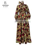 Customize batik wax print Afrian women long necktie maxi dress wholesale clothing
