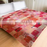 Indian Beautiful Vintage Silk Sari Wholesale Handmade Kantha Quilt Patchwork Bedding Throw Quilt