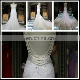 2017 Sexy Pearls Beaded Appliques Lace Spaghetti Straps Backless Mermaid Wedding Dress Tiamero 1A008