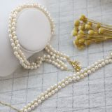 Wholesale Handmade Pearl Necklace 14K Gold 3-4mm Natural Freshwater Pearl Necklace Bracelet Jewelry Sets