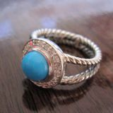 Silver Jewelry 8mm Turquoise Petite Albion Ring(R-029)